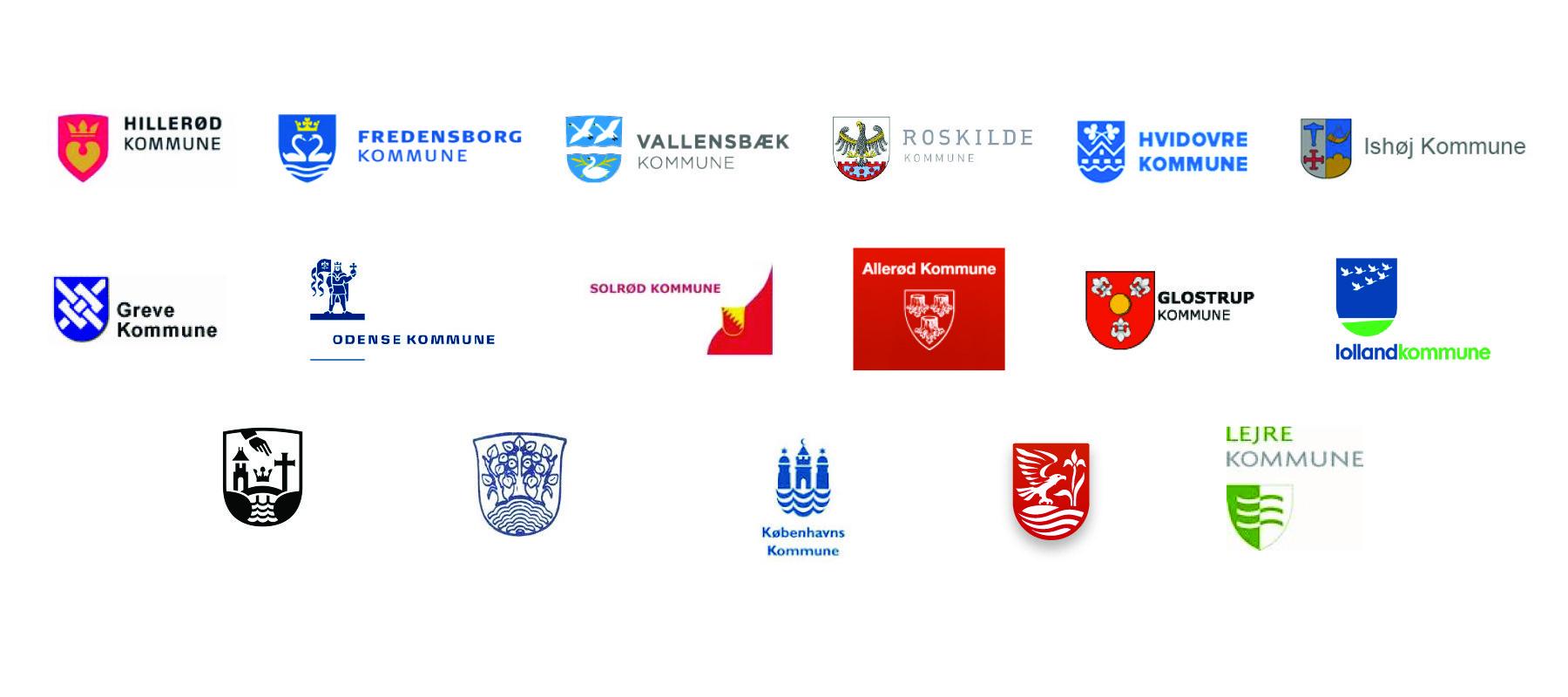 MarteMeo samarbejdspartnere. Logo af forskellige kommuner som samarbejder med MarteMeo Uddannelsen.